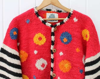 BLue Orange Yellow Black White Striped Cardigan Vintage Christmas Sweater Women's Clothes Gift Ideas Gifts for Her Large Sweater Mod Style