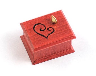 Red heart wooden music box Love Story
