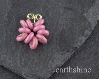 10 Rose pink handmade glass lampwork spacer beads. 3mm holes