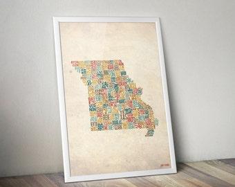Missouri by County - Typography Print