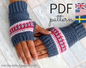 Crochet Pattern - Nordic Wrist Warmers/Fingerless gloves - US and UK terms and Swedish - PDF file