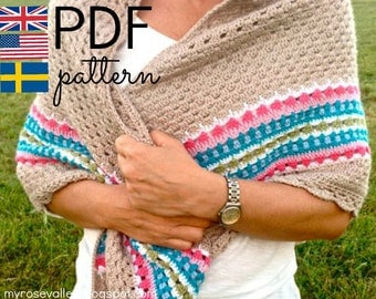 Crochet Pattern - Nordic Shawl - Crochet Shawl UK, US & Swedish terms,  instant download PDF pattern