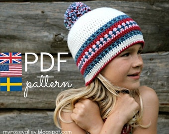 CROCHET pattern - Nordic Hat - Pdf crochet pattern - US, UK & Swedish terms (size child to adult)
