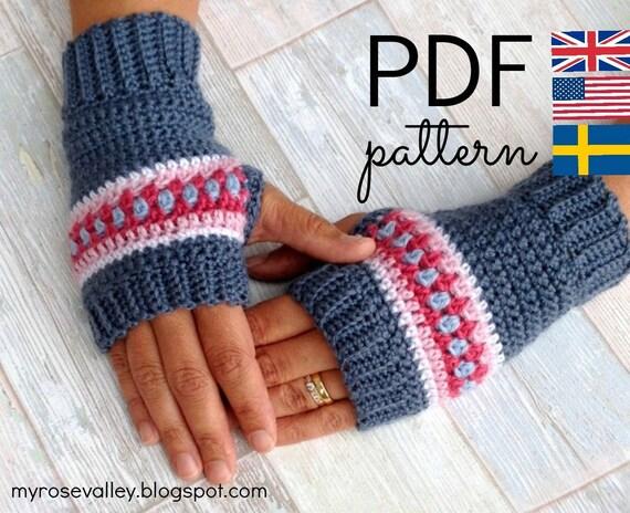 Crochet Wrist Warmers Pattern - Nordic Wrist Warmers - Crochet Fingerless Gloves Pattern - US and UK terms and Swedish - PDF file
