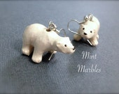 Miniature Polar Bear Dangle Earrings. Cuddly Animal Earrings. Silver. Whimsical. Cute. Snow. Arctic. Winter. Under 20. Gifts for Her. Unique