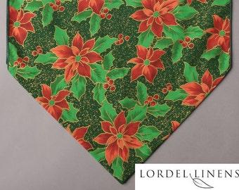 "Red Poinsettias on Green 36"" Table Runner, Christmas Table Runner, Seasonal Table Decor, Holiday Decor"
