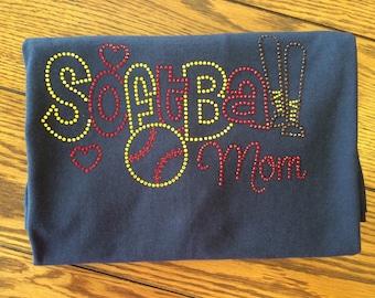 Softball Mom T-Shirt - Bling Sparkle - Rhinestone Design - Baseball