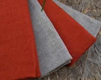 Linen Kitchen Towels Set of 4 Organic Linen Natural Grey and Terracotta Orange Washed Vintage Look