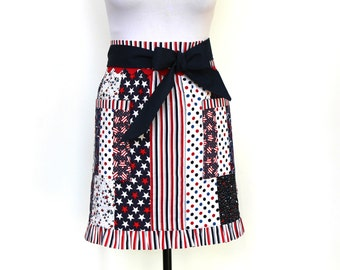 Fully lined All American Patriotic Red White and Blue Half Apron with two pockets