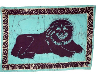 LION - Batik Wax Print Wallhanging - Child's Drawing - Support the Deaf