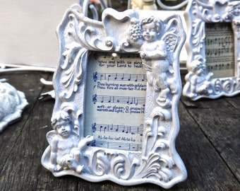 Angel Frame, 4 x 4 Frame, Syroco Frame, White Frame, Place Card Holder, Sheet Music, Angels and Hearts, Cupid Cherub Decor, Small Frame
