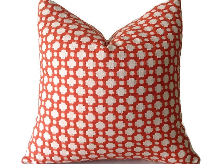 Spark Modern Pillows Etsy : Schumacher Betwixt Pillow Cover in Spark Orange Throw Pillow