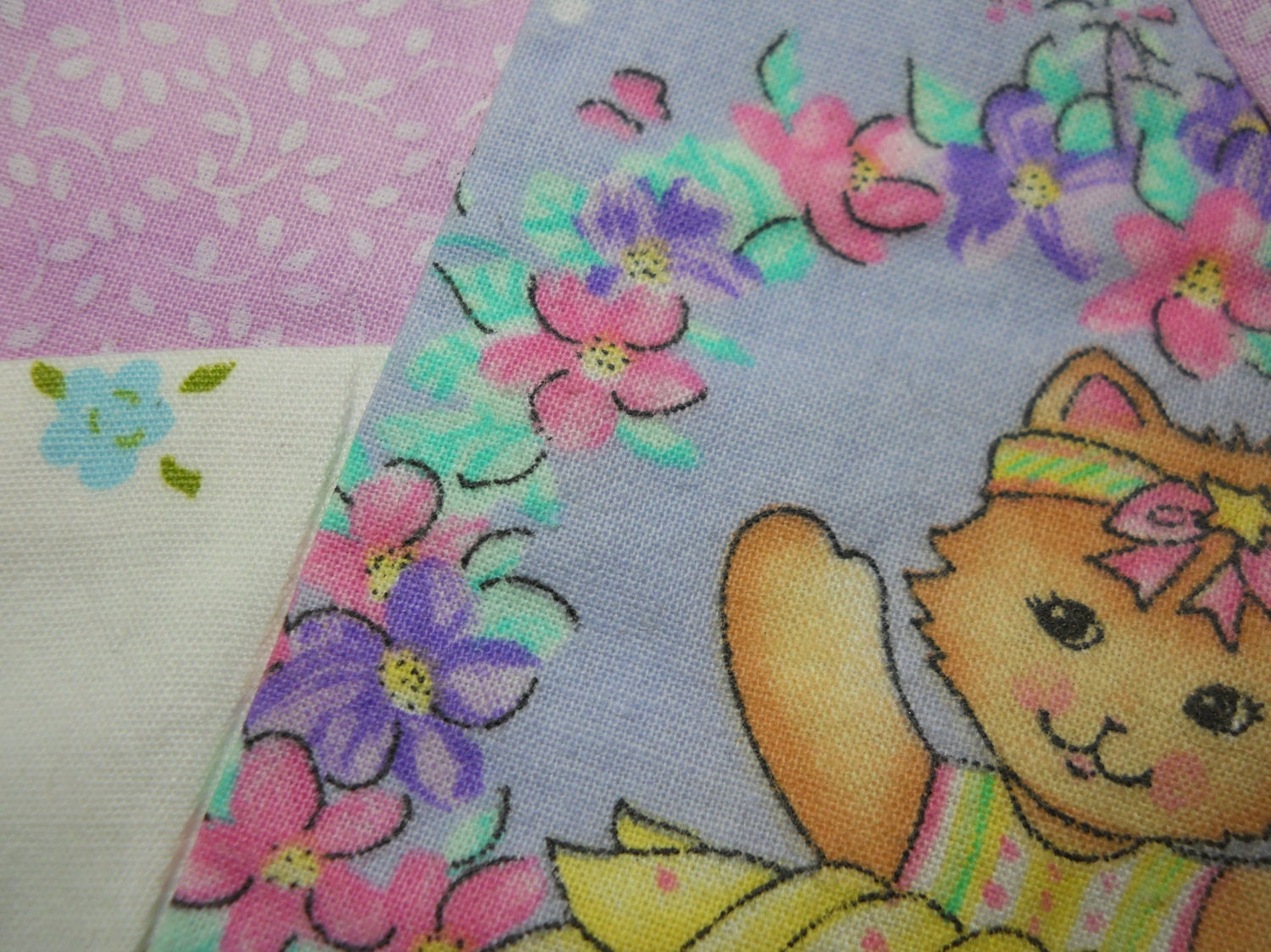 Crazy Quilt Pattern Fabric : Crazy Quilt Square Quilt Square Fabric Art Kitty Quilt