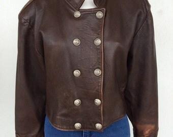 Rare 1960's rock n' roll dark brown leather jacket