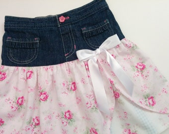 Girl's Skirt, Little Girl's Denim and Roses Layered Up Cycled Skirt Size 3-4T
