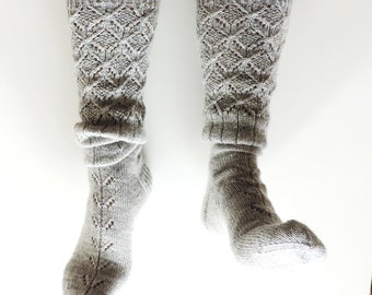 SAMPLE SALE! EUR 38. Grey boot socks. Knee high socks. Knit lace wool socks. Pastel grey socks. Grey leg warmers. Christmas gift for her