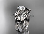 "14kt white gold leaf and vine wedding ring, engagement set with a ""Forever One"" Moissanite center stone ADLR273S"