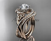 """14kt rose gold diamond celtic trinity knot wedding ring, engagement set with a """"Forever One"""" Moissanite center stone CT7320S"""