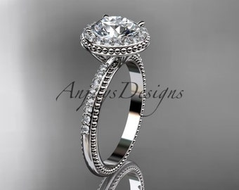 """14kt white gold diamond unique engagement ring, wedding ring with a """"Forever One"""" Moissanite center stone ADER95"""