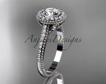 "Platinum diamond floral wedding ring, engagement ring with a ""Forever One"" Moissanite center stone ADLR101"
