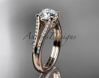 """14kt rose gold diamond unique engagement ring, wedding ring with a """"Forever One"""" Moissanite center stone ADER108"""