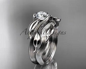 14kt white gold leaf and vine wedding ring, engagement set ADLR273S