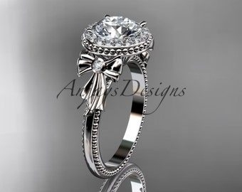 """14kt white gold diamond unique engagement ring, wedding ring with a """"Forever One"""" Moissanite center stone ADER157"""