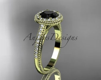 14kt yellow gold diamond unique engagement ring, wedding ring with a Black Diamond center stone ADER104