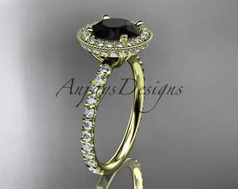 14kt yellow gold diamond unique engagement ring, wedding ring with a Black Diamond center stone ADER106