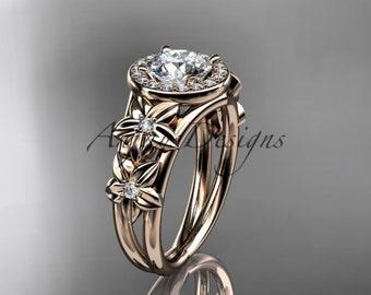 14kt  rose gold diamond floral wedding ring,engagement ring ADLR131