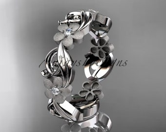 14kt white gold diamond flower wedding ring,engagement ring,wedding band. ADLR 191