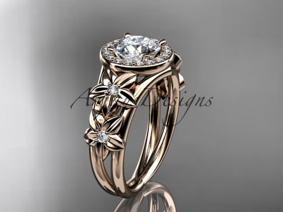 14kt  rose gold diamond floral wedding ring,engagement ring ADLR131