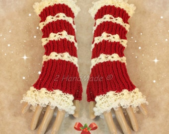 Santa Fingerless Chunky Knitting Cable Hand Warmers Christmas Xmas Soft Sheep Merino Mohair wool Red of White ready to ship