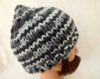 Super Chunky Hand Knit Hat Merino Wool Beanie Rain Ribbed Skull Cap Striped Unisex Grey Gray Men Women Teens