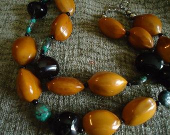 Boho Large Caramel Black and Turquoise Bead Necklace