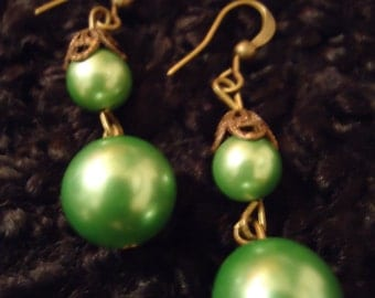 RESERVED Angie Boho Vintage Inspired Green Bridal Demure Earrings