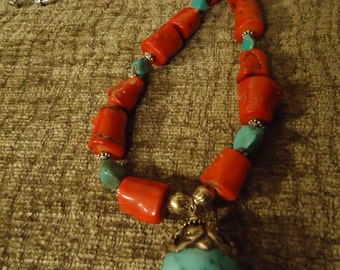 Classy Boho Southwestern Coral and Turquoise Necklace