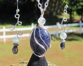 Vikings Compass - Iolite and Moonstone Wire Wrapped Pendant and Earring Set