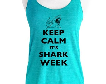 Keep Calm It's Shark Week Soft Tri-Blend Racerback Tank