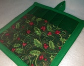 8 X 8 Green with Holly Leaves and Berries Print, Pot Holder, Hot Pad, Oven Mitt, Insulated, Quilted, Pocket