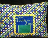 """Blue Green Yellow Tooth Fairy Pillow Case with Pocket for Tooth - Polka Dots, Zipper - Fits 12"""" X 16"""" Pillow Form"""