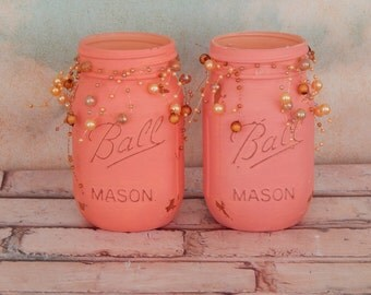 Painted Mason Jar, Centerpieces, Set of 2 Mason Jars, Home Decor, Shower Decor, Coral and Peach