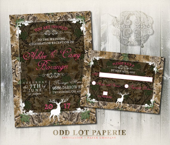Camo Wedding Reception Ideas: Camo Wedding Invitation And RSVP Set Rustic Wedding Invitation