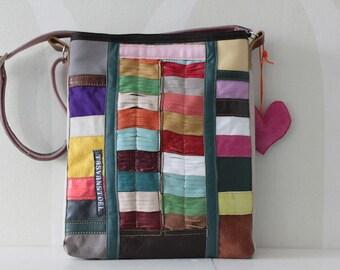 Colourfull, striking,Leather, handmade bag