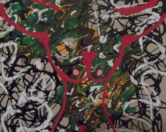 Deer in Headlight 16x20 Canvas Hunting Humor theme Fluid Drip Art original Painting