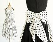 Vintage Black & White Polka Dot Halter Dress - 1950's