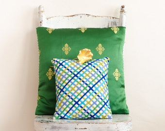 Hand Made Pillowcases w/ Vintage Fabric Textile Silk & Linen Pillowcases - Set of 2
