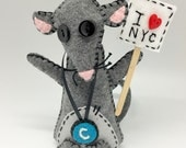 Felt stuffed rat with sign, NYC Subway Rat handmade in felt soft sculpture, rodent toy plush decor, soft rat plushie decorative item, mouse.