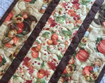Thanksgiving Table Runner Quilt, Pumpkin, Cornucopia Topper, Fall Autumn Quilt, Orange, Brown, Quiltsy Handmade