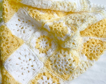 Yellow Crochet Blanket- Newborn Baby Blanket- Hand Crocheted- Made To Order- Yellow, White